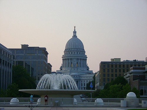 A view of the capitol from on top of Monona Terrace