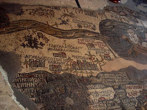 madaba map showing the Jordan river