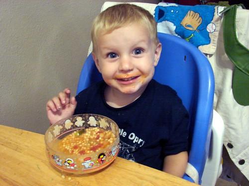 Eamonn eats soup