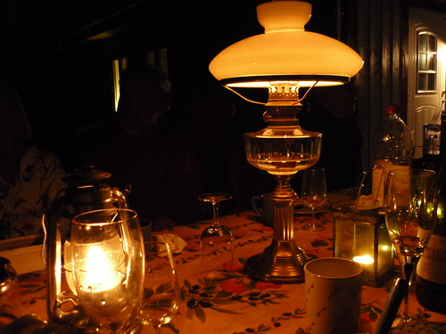 Oil lamps shine a light on the Swedish summer night