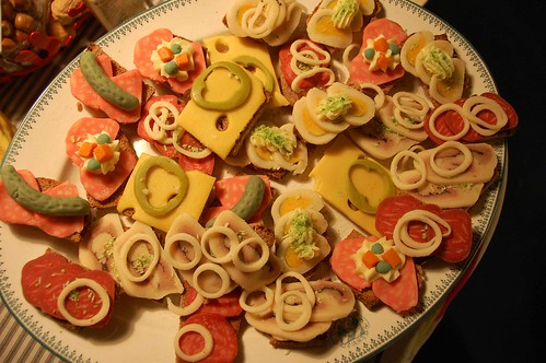 My mom had bought these extremely lifelike marzipan open sandwiches. They were so true you actually expected the taste of egg or salami when tugging into them.