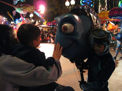 We watched the Pixar Play Parade again, and Dory came up to Emmett again!
