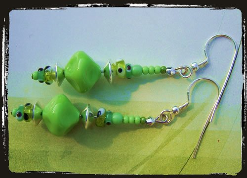 Orecchini unici verdi - Green Unique earrings AMHCVM