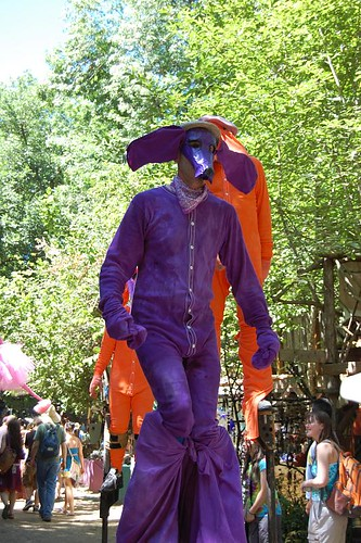 stiltwalker at the eugene country fair