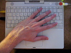 Hand on keyboard