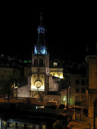 Church in Lyon lit-up for the festival.