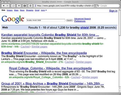 Bradby Shield 2008 Search results page for google.com