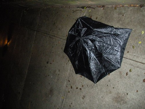This looks like a garbage bag, but its an umbrella.  I didnt check to see if it still had its handle.