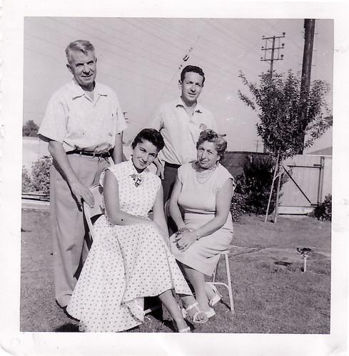 Inrving, Sid Brosten, Joan (Schulman-Brosten), Hanah Schulman backyard 7850 Whitsett.jpg