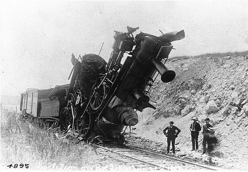 Collision between two engines, Bay of Quinte Railway, ON, 1892 by Musée McCord Museum