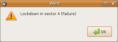 Alert Dialog: Lockdown In Sector 4 (Failure)