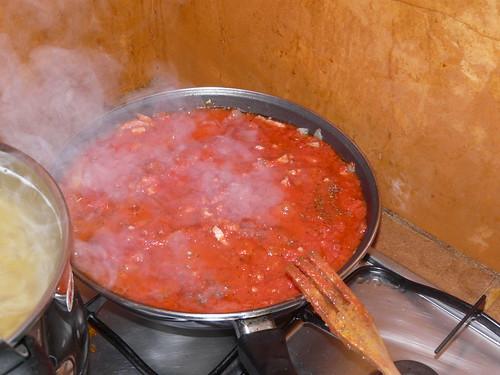 Tomate frito añadido