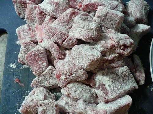 Floured beef cubes