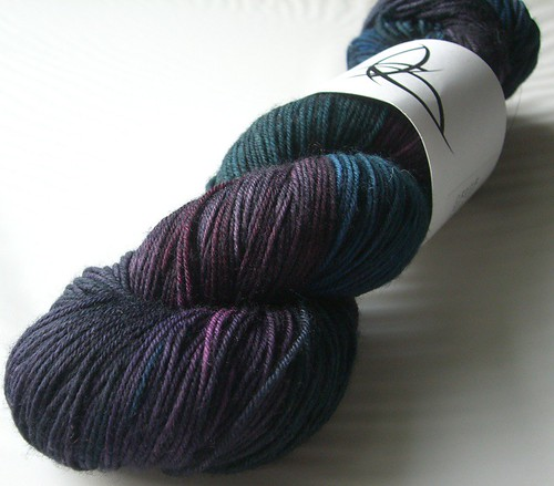 Black Trillium Fibre Studio - Merilon Sock - Rainbow Black