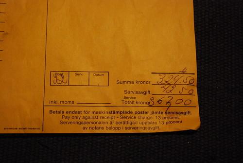 A restaurant bill from 1982