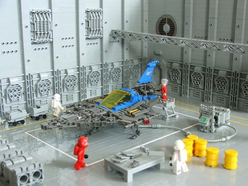 LEGO classic space ship under construction