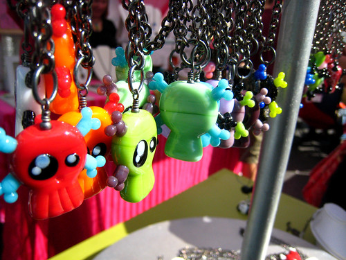Art on the Avenue - colorful skull necklaces