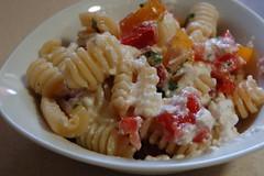 Pasta with salsa cruda and ricotta