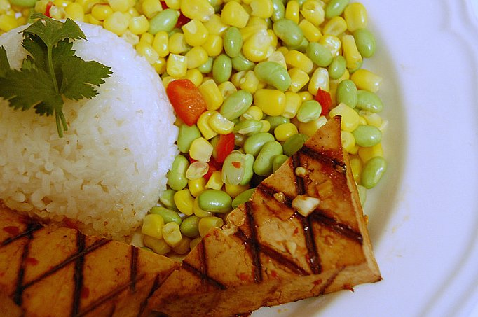 Marinated Asian Tofu and Coconut Rice