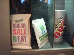 sugar, salt and fat and bag o calories