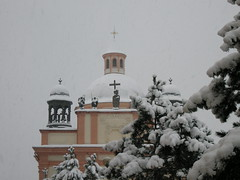 Baroque church under snow