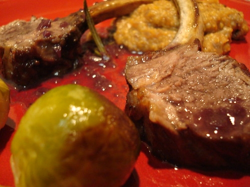 Roasted Rack of Lamb with Brussels sprouts and savory polenta