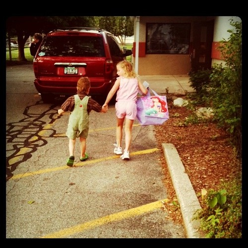 He walks her to school on her last day: tradition :)