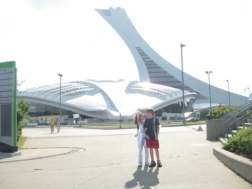 Micaela and Carter at Parc Olympique, home of Montreal's 1976 Olympic games
