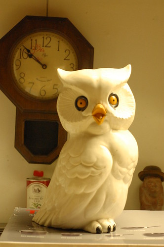 Creepy-looking ceramic owl.