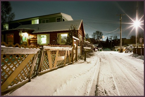 Alley, cabin and apts., Bootleggers Cove neighborhood, Anchorage.