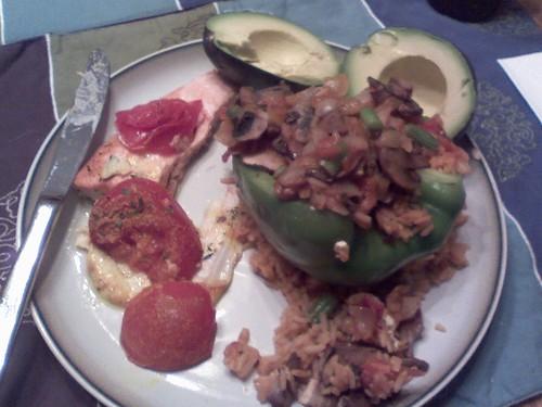 Stuffed pepper and fish