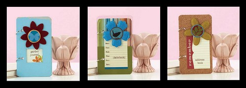 Paper Crafts Pro Kim Kesti rounded the corners on all three of these mini albums with the handy dandy Paper Gator!