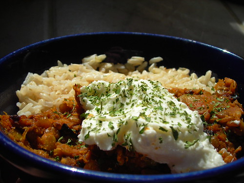 Dal with strained yogurt and brown rice