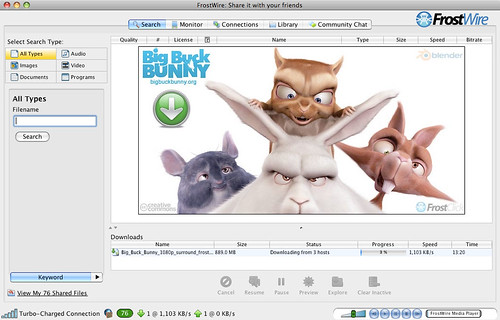 FrostWire promotion of Big Buck Bunny