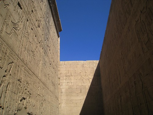 Exterior walls covered in hieroglyphics