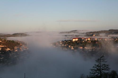Fog in the valley, Villefrance France