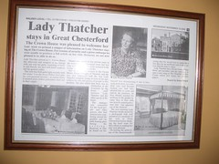Chemist Margaret Thatcher stays at the Crowne House Hotel, Great Chesterford, England