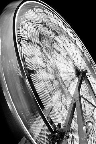 Ferris wheel at the Waterfront Park V in B&W