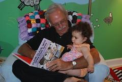 "Grandpa Bill reads Clara ""Click Clack Moo"""