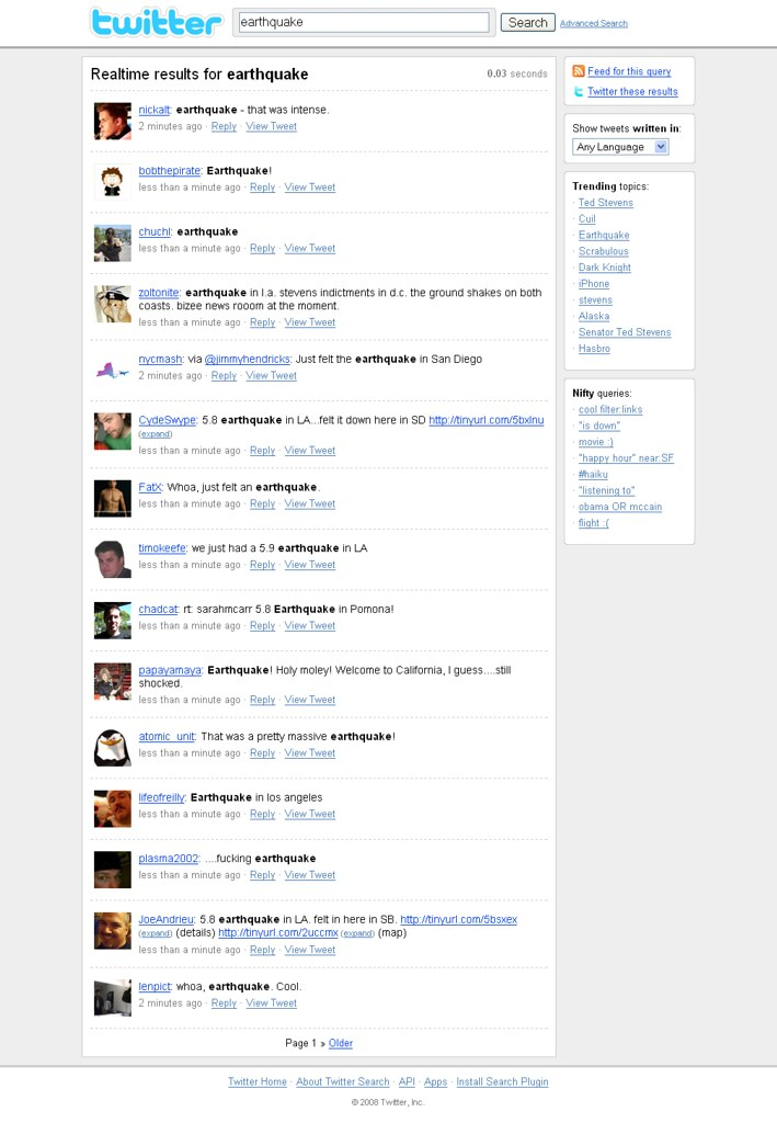 July 29 US Earthquake on Twitter