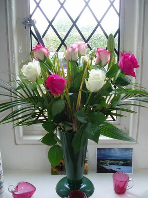 flowers, for grannies birthday - bought by mum, arranged by me.