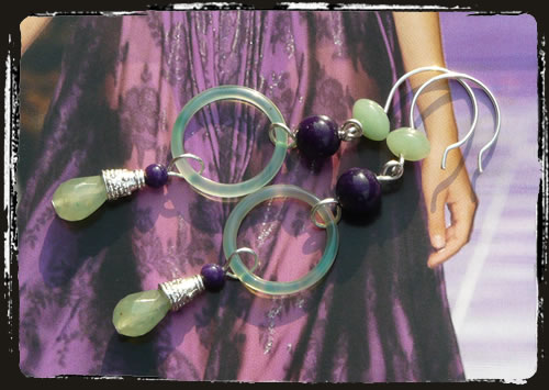Orecchini viola verde - Green purple earrings AMHLPVV