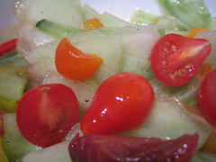 salad of heirloom cherry tomatoes, honeydew, and cucumbers