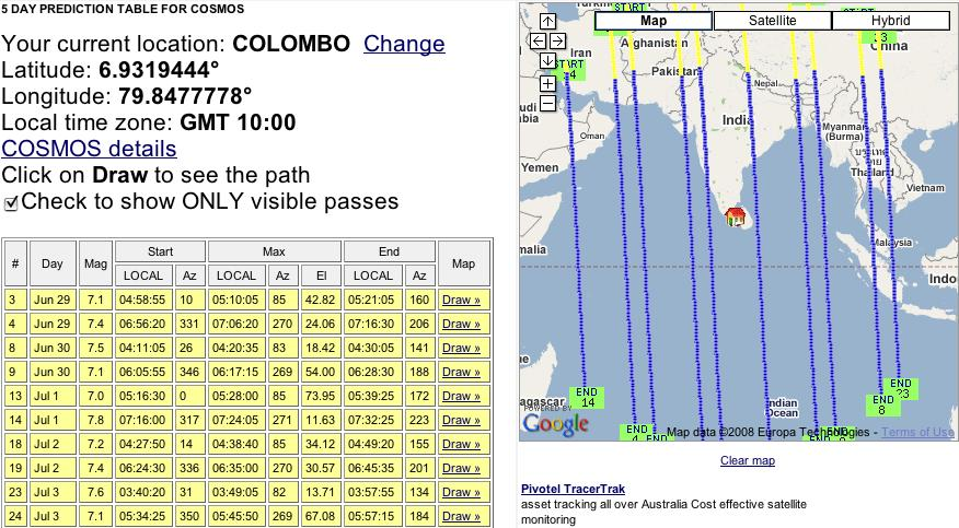 COSMOS satellite path over Sri Lanka
