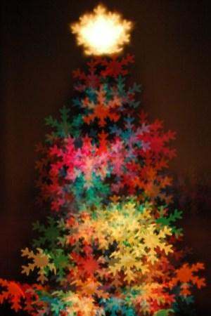 snow flake bokeh christmas tree