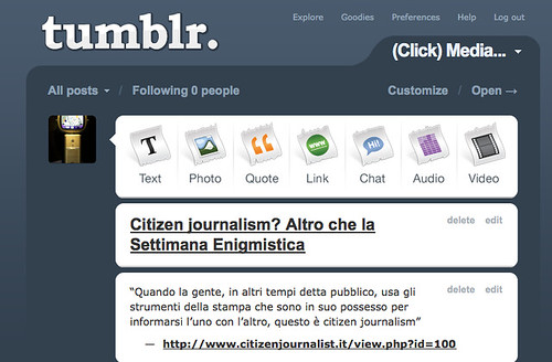 Il mio account su Tumblr