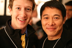 Mark Zuckerberg, founder Facebook, and Jet Li, famous martial arts star