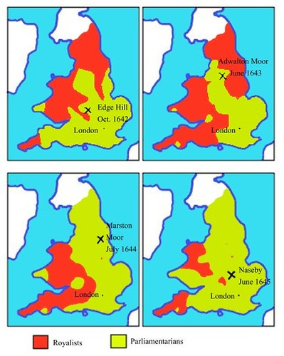 La evolución geográfica de la Primera Guerra Civil Inglesa