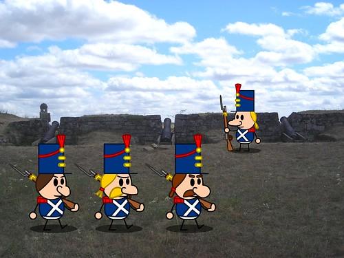 Soldats napoléoniens lors de l'occupation d'Almeida