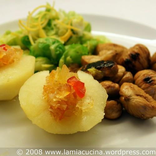 Senffruchtäpfel, Marroni und Rosenkohl